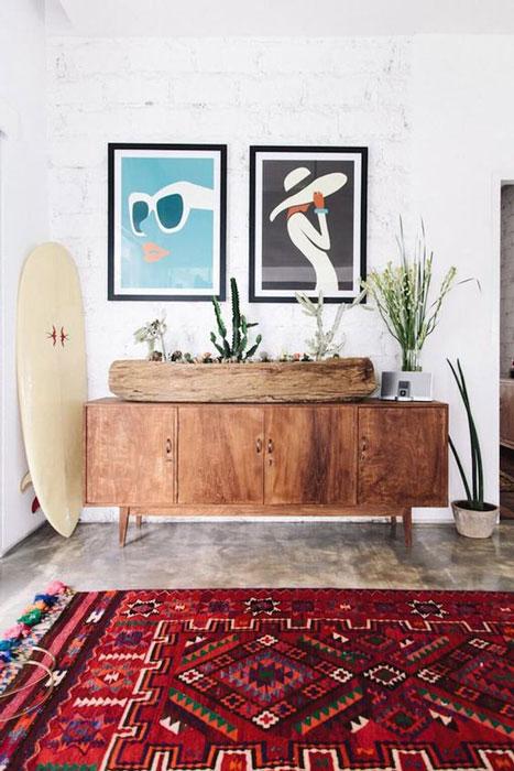 prancha de surf na decoração