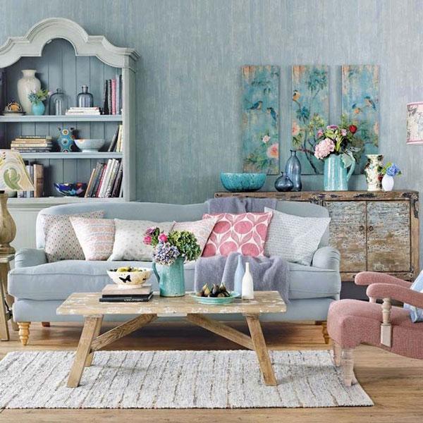 Sala de estar rose quartz e azul serenety