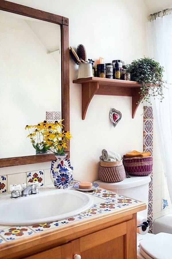 móveis de madeira no banheiro