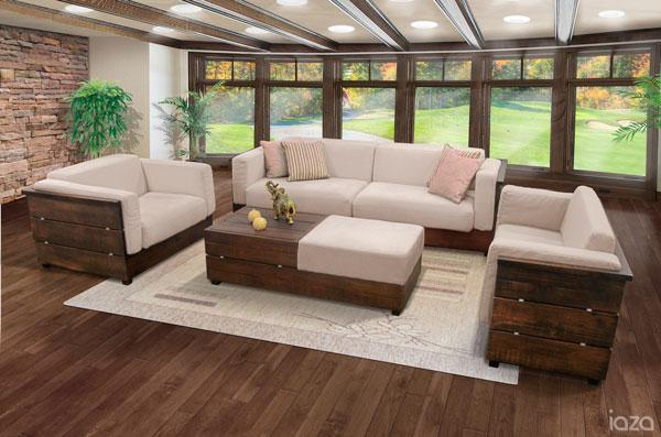 sofá rústico âmbar