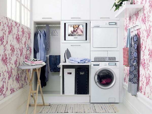 papel de parede na lavanderia