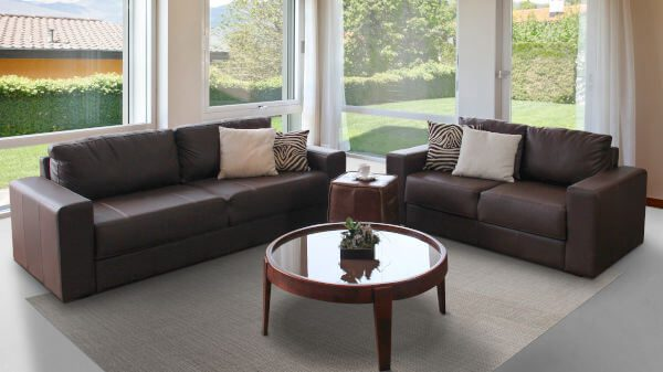 Conjunto sofás 3 e 2 lugares Leder