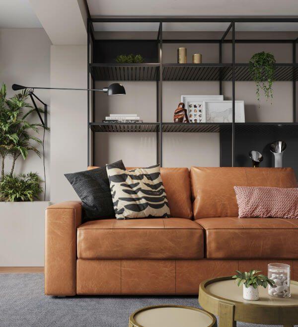 Sofá Leder na Sala de estar