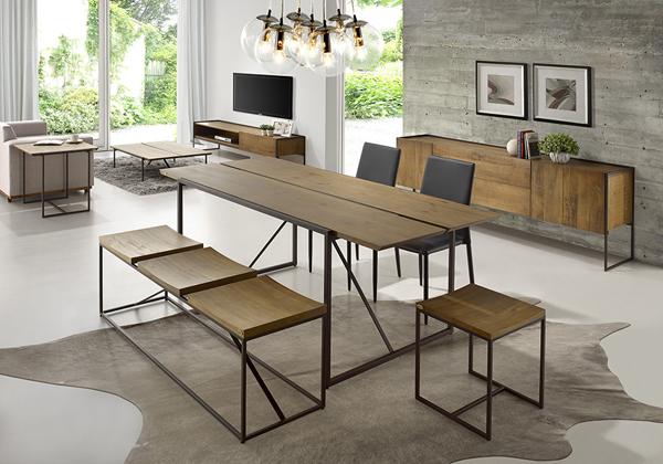 sala de jantar móveis de madeira e ferro