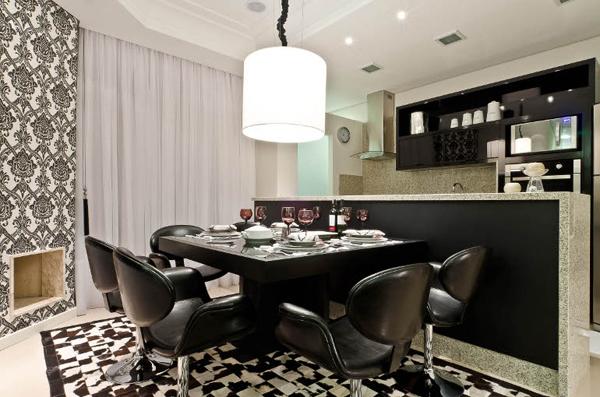 sala de jantar decoração preta