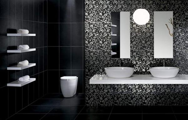 banheiro com decoração preta