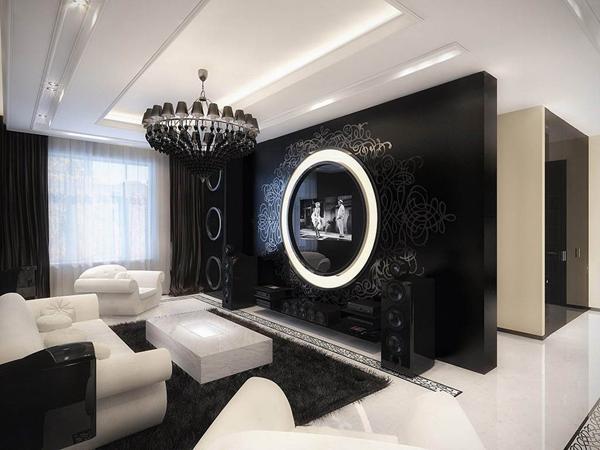 preto na decoração da sala