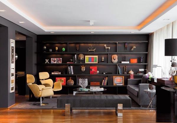 preto na decoração sala de estar
