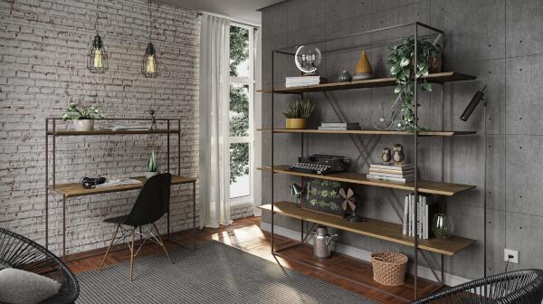 móveis industriais madeira ferro