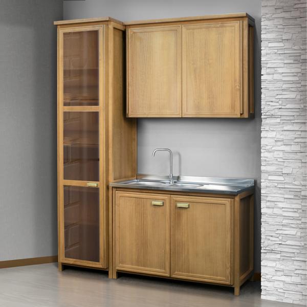 cozinha modulada em madeira