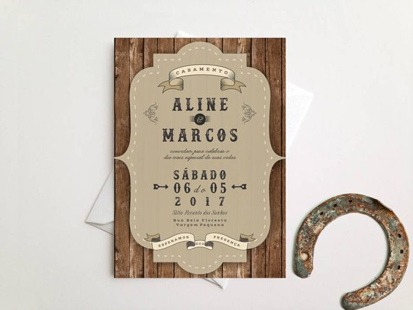 Convite casamento country