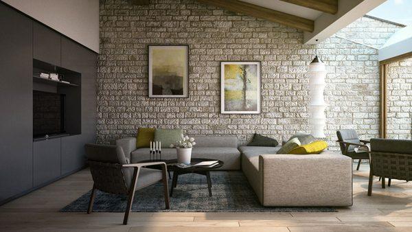 sala com parede de pedra