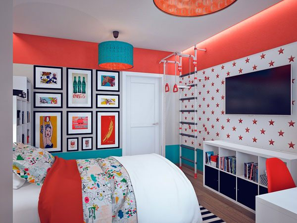 Quarto com estilo Pop Art