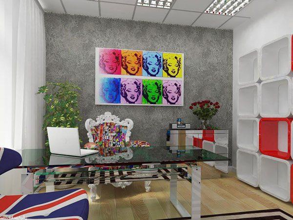 Escritório com design Pop Art