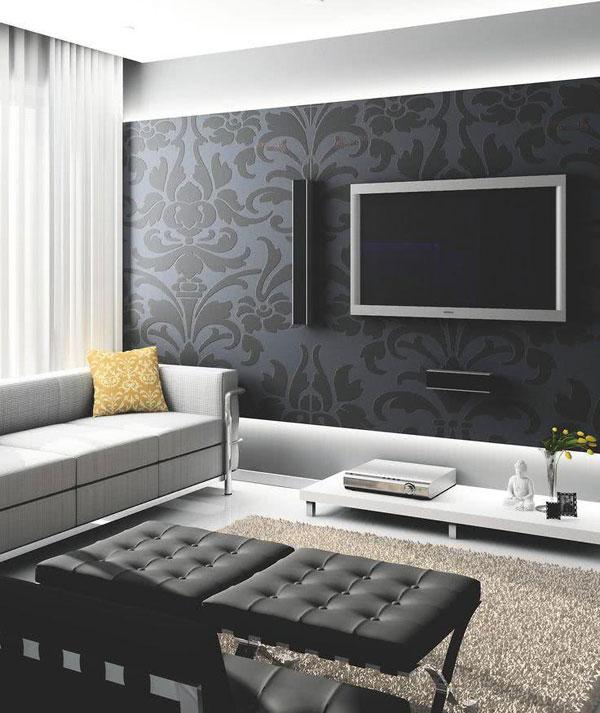 paredes escuras na sala de TV
