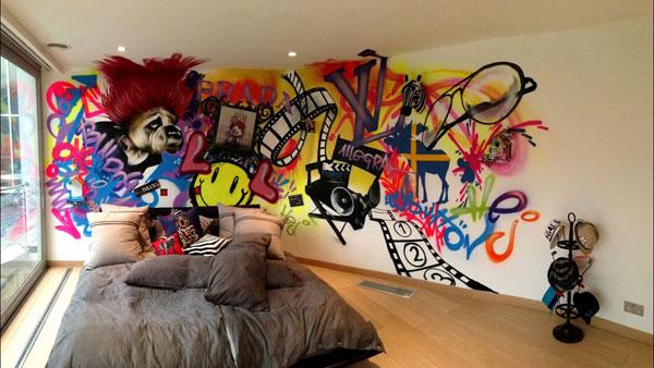 quarto teen com grafite