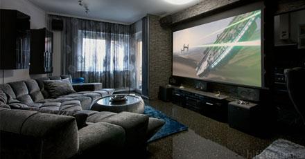 decoração de sala de tv espaçosa