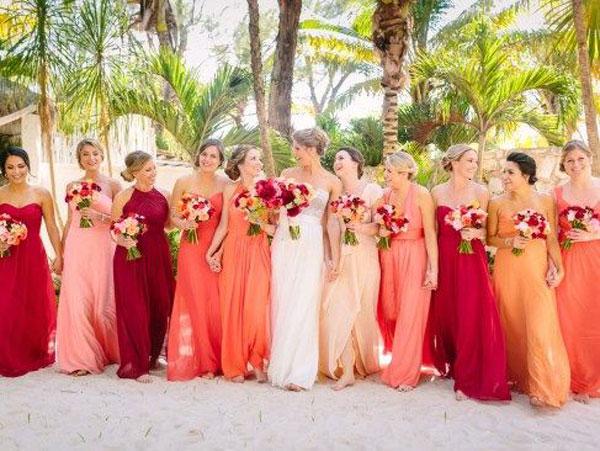madrinhas com vestido living coral