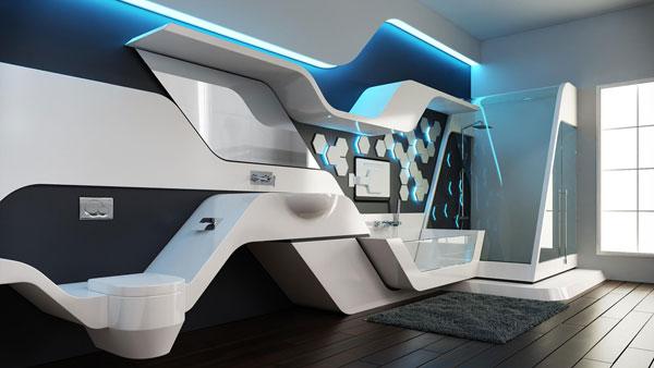 banheiro com design futurista