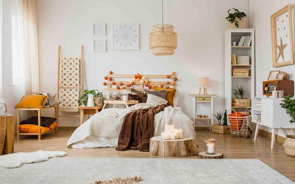 quarto com decoração hygge