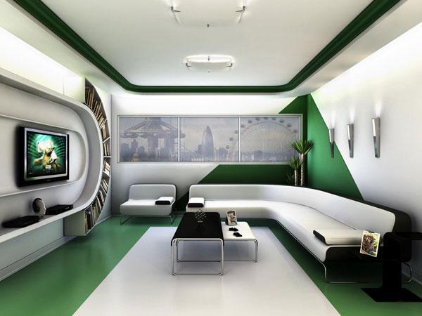 sala de estar com estilo futurista