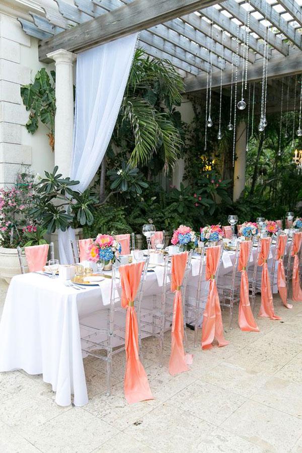 living coral na decoração de casamento