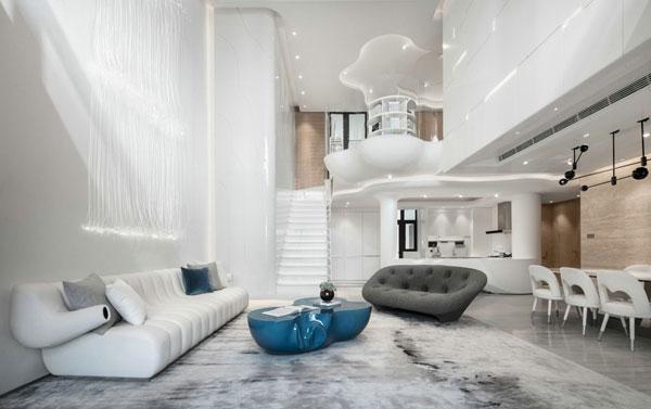 sala de estar futurista