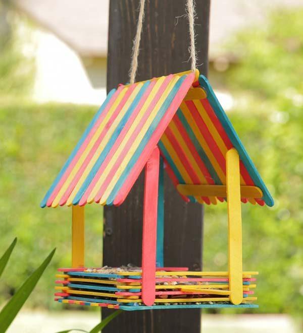casa de passarinho com palito de picolé