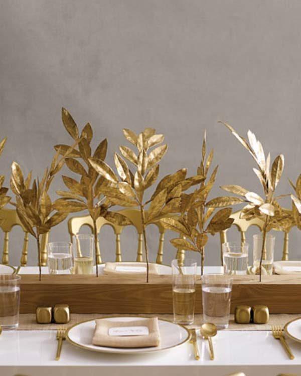 Folhas secas na decoração