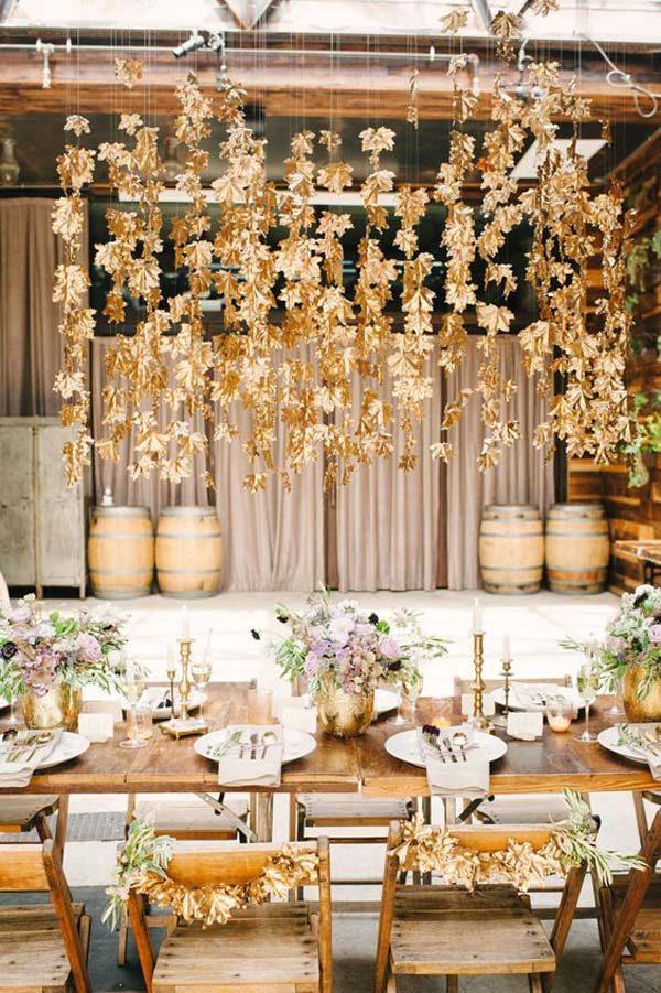 decoração de casamento com folhas secas