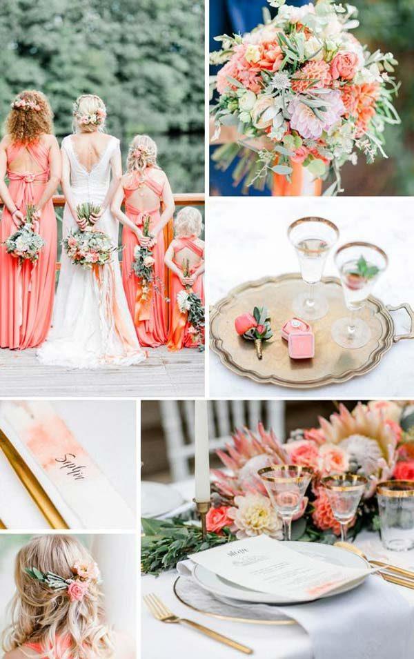 decoração living coral de casamento