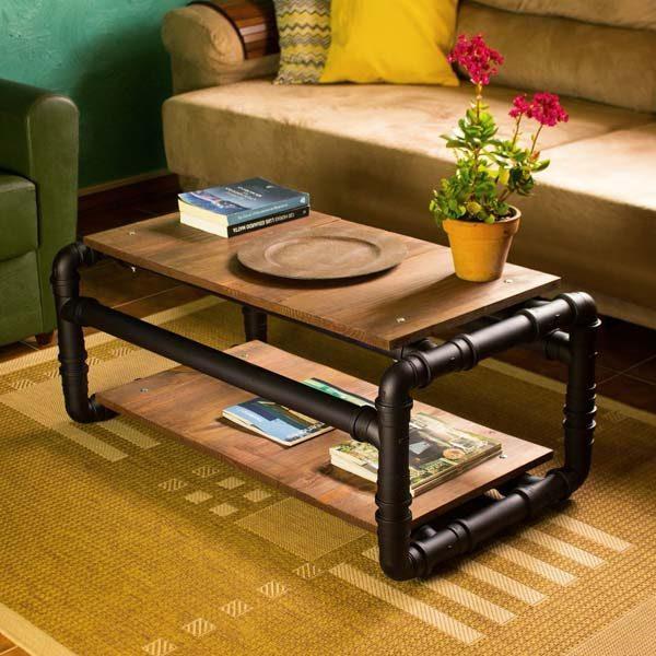 mesa de centro com cano de PVC