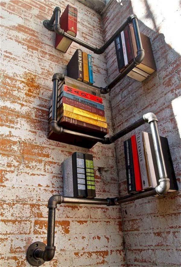 decoração reciclável com tubo de ferro