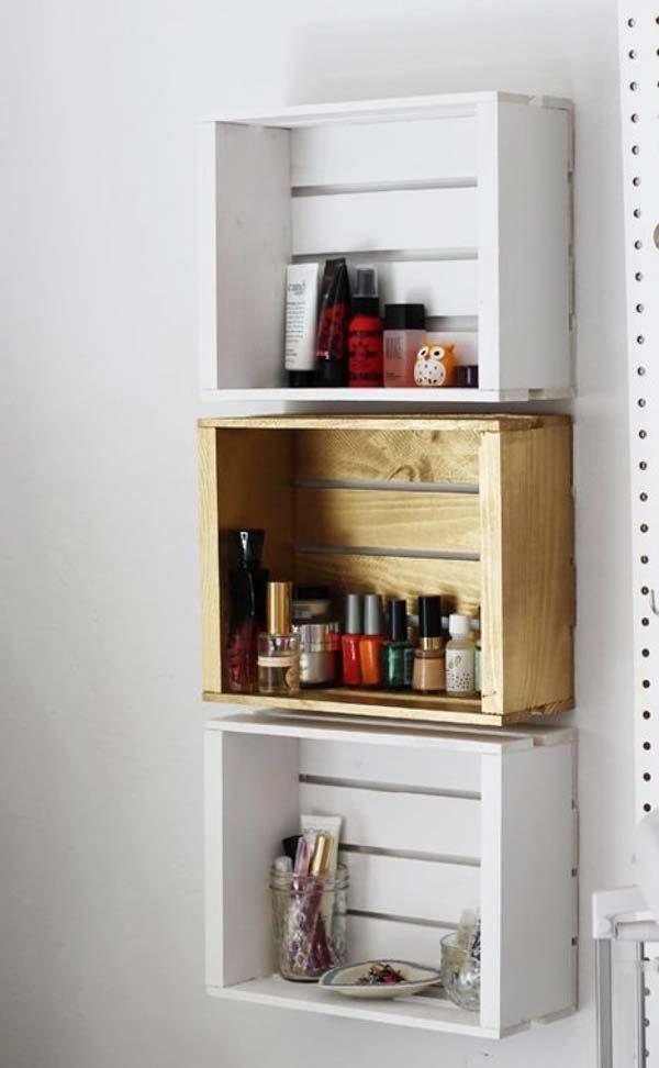 nicho de caixote de madeira