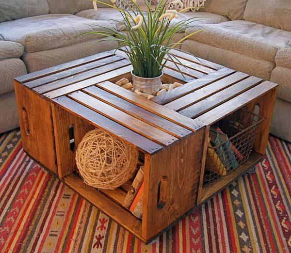 caixote de madeira na decoração