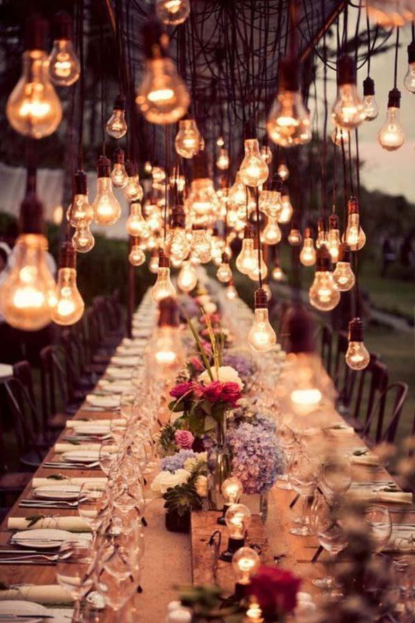 luminárias suspensas para casamento