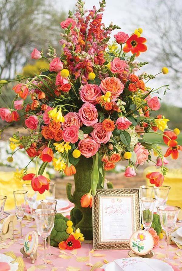 arranjo de flor desconstruído na decoração