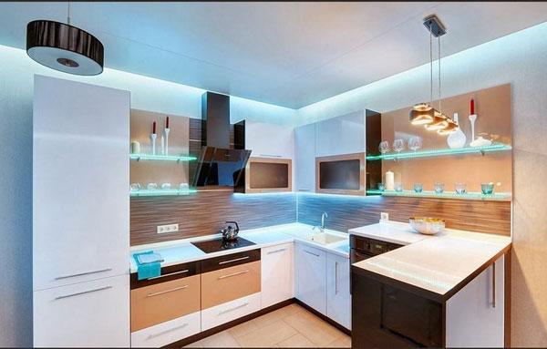 luz de led na cozinha
