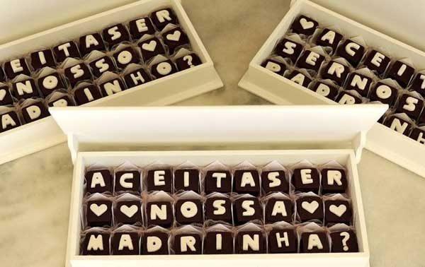 convite com chocolate padrinhos de casamento