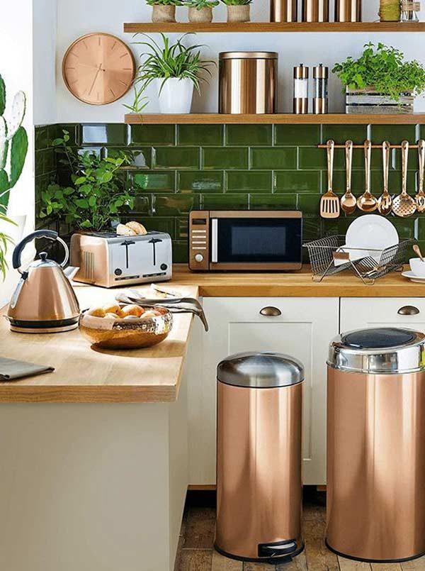 cozinha rose gold