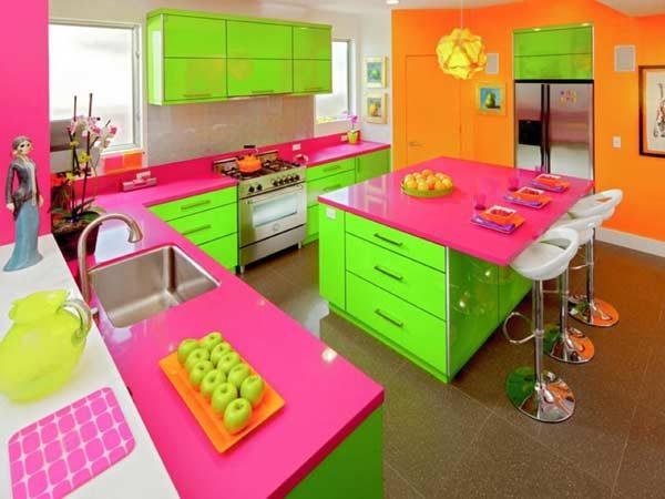 cores neon na cozinha