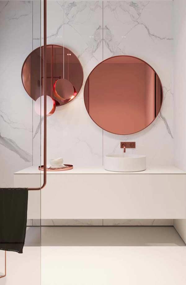espelho rose gold