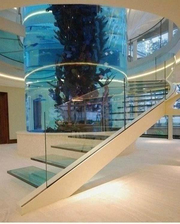 aquário no centro da escada