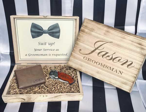 caixa convite personalizada para padrinho de casamento