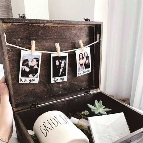 caixa convite com fotografia para madrinha de casamento
