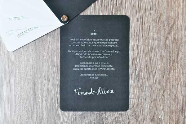 convite de padrinho de casamento Débora e Fernando