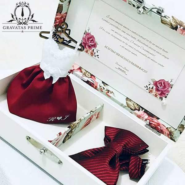caixa convite para padrinhos de casamento
