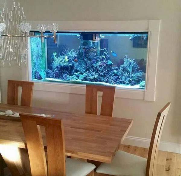 aquário embutido na parede