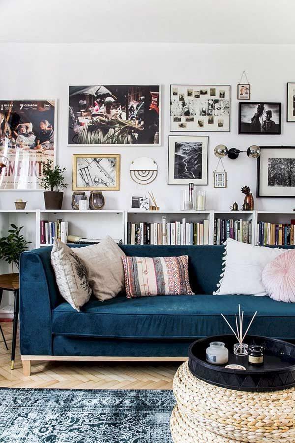 coleção de livros na decoração