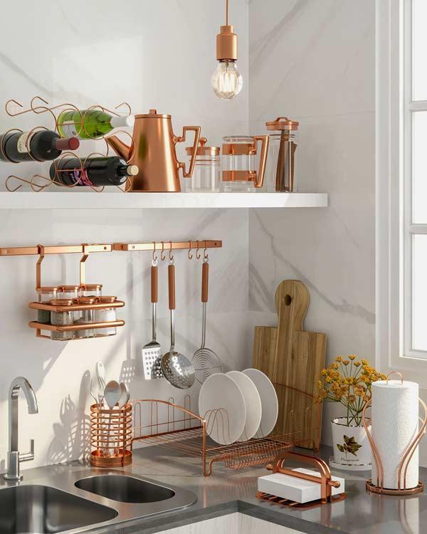 decoração rose gold na decoração da cozinha